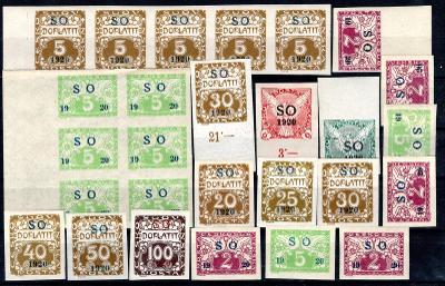 So 1920/sestava svěžích známek s přetiskem SO 1920  na destič/19.67566
