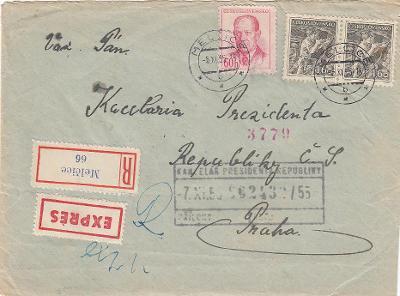 Emise Povolání 1954 2x 1,60 Kčs R + EX dopis na prezidenta republiky