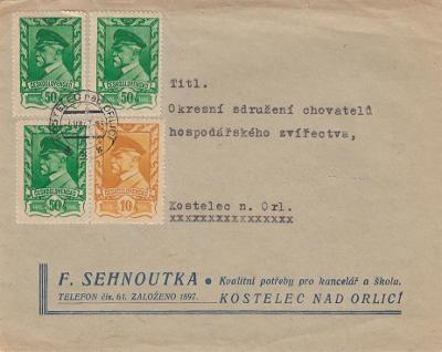 1945 Moskevské vydání místní dopis Kostelec nad Orlicí  1,60 Kčs
