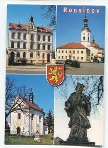 ROUSÍNOV, o. Vyškov - socha, kostel, erb.........