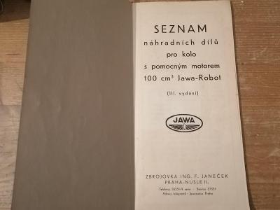Starý katalog pro kolo s pomocným motorem JAWA ROBOT 100ccm3 rok 1938