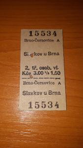 Kartónová jízdenka Brno Černovice - Slavkov u Brna