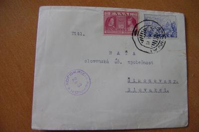 Baťa-firemní dopis z Řecka-  Atény -cenzúra 1944 do Partizánskeho