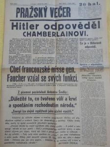 Noviny PRAŽSKÝ VEČER ( 23.9.1938 ) - Předmnichovské události  .