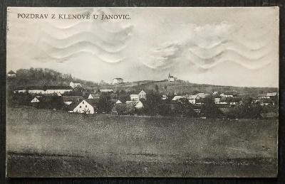 Pozdrav z Klenove u Janovic 1927 krásný stav