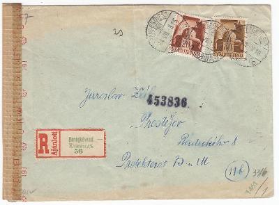 1944 Podkarpatská Rus maďarský zábor R-dopis Kivjažď 2-jazyčná R-nálep