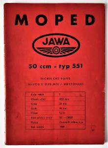 Moped Jawa typ 551 - popis a návod (1959)