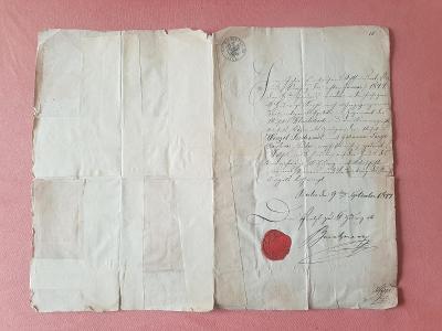 Dokument - osvědčení s pečetí, razítkem a podpisem 1844, aukce od 1Kč