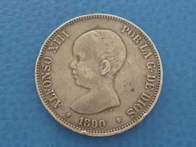 5 Pesetas Španělsko Alfonso XIII. 1890 - Ag mince od 1 Kč
