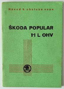 Škoda Popular 1.1 L OHV - návod k obsluze osobního vozu