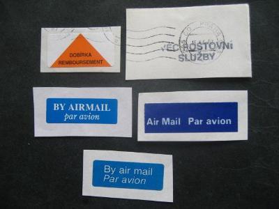 Poštovní nálepky,nátisky 5 kusů od korunky