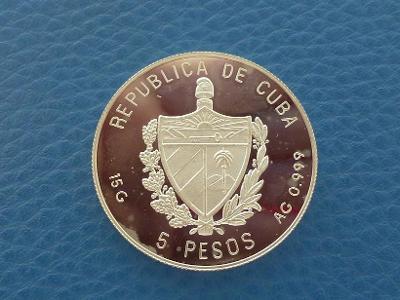 5 Pesos 1993 Kuba - proof Ag mince od 1 Kč