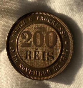 Historická mince - Brasil 200 REIS 1889