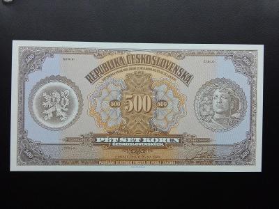 500 KORUN 1923 ,ORIGINÁL FACSIMILE, LEGIONÁŘ, NÁKLAD 100 KUSŮ,UNC!
