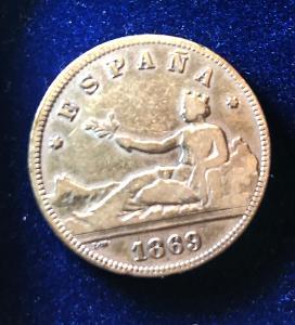 AG 2 Pesetas 1869 - Silber (stříbro)