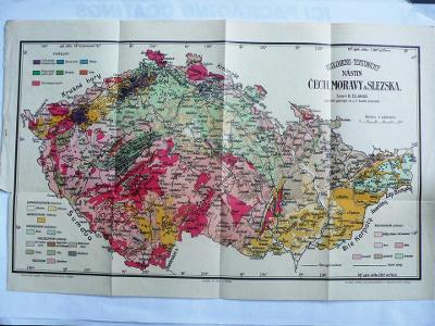 Stará  geologická tektonická mapa Čech Moravy a Slezska  51  x  34 cm