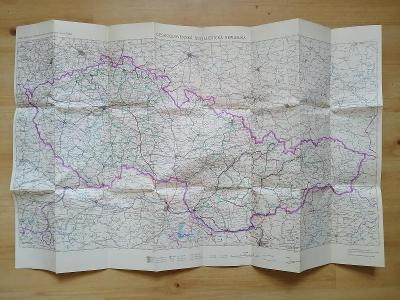 Mapa dálkových a medzinárodných autobusových tratí ČSAD 1966
