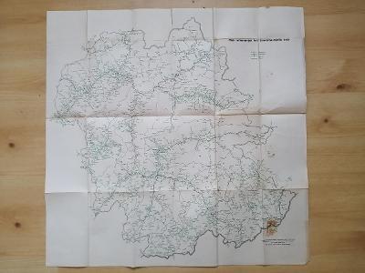 Mapa autobusových tratí stredoslovenského kraje  1964