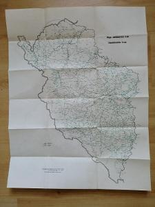 Mapa autobusových tratí Západočeského  kraje  1964