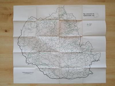 Mapa autobusových tratí Západoslovenského  kraje  1964