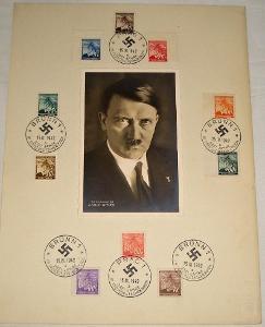 Pamětní list protektorát - známky + portrét Adolf Hitler (03/1942)