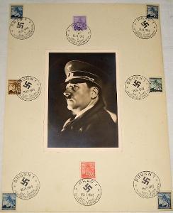 Pamětní list protektorát - známky + portrét Adolf Hitler (1942)