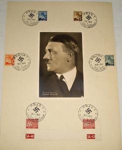 Pamětní list: protektorát - známky + portrét Adolf Hitler (1942)