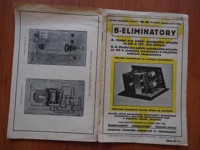 B - ELIMINÁTORY - praktické radioamatérské příručky,svazek 7 , 1927