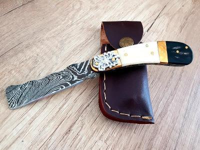 🔴Damaškový nůž 17 cm - kapesní ručně vyrobeno + kožené pouzdro