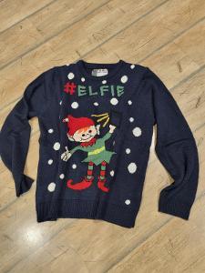 Vánoční modrý svetr s rolničkou vel L/XL