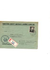 R - Dobřív, logo,Farní úřad Jednoty bratrské, známka A. Jirásek 8 Kčs