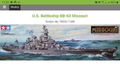 USS Missouri WWII 1/350 Tamyia + lepty, hlavně