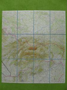 Stará mapa východní části ČSSR a jihu Polska, cca 50.léta