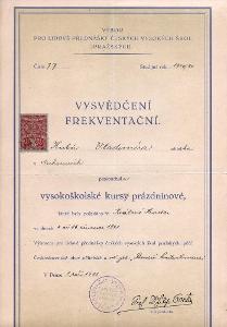 Originální vysvědčení frekventační, Praha, r.1921