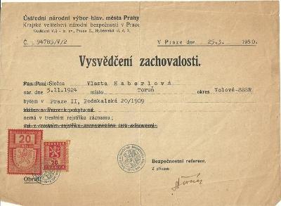 Dokument Praha Vysvědčení zachovalosti kolky
