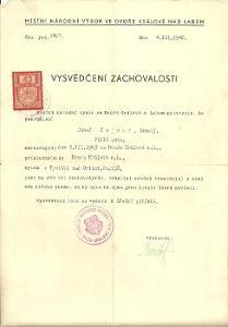 Dokument Týniště Vysvědčení zachovalosti 1948