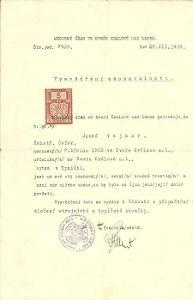 Dokument Týniště Vysvědčení zachovalosti 1939