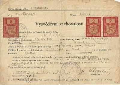 Dokument Lipovec Vysvědčení zachovalosti 1949