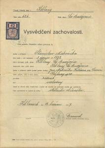 Dokument Keblany Vysvědčení zachovalosti 1947