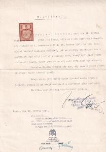 Dokumenty Vysvědčení, 1941