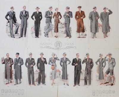 Plakát SAISON 1938 dámská a pánská móda