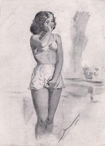 Erotický obrázek Paul Dandin, akt 1945