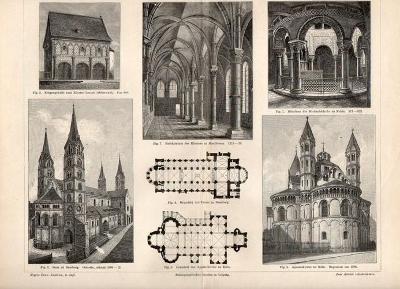 Litografie románská architektura