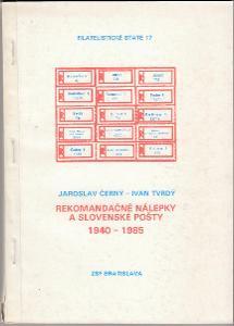 Filatelistické state ZSF 17 Rekomandačné nálepky Slovensko 1940 - 1985