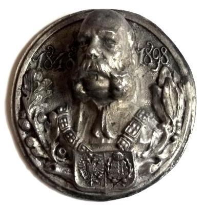 Císař František Josef I. 1848-1898 Těžká Velká Kovová Plaketa 130x50mm