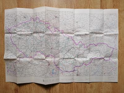 Mapa dálkových a mezinárodních autobusových tratí ČSAD 1966 český text