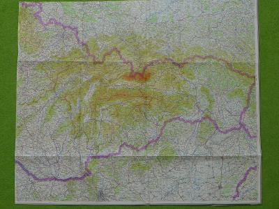 Mapa východní části ČSSR (Slovensko), cca 70.léta