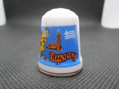 Sběratelský náprstek Řecko - Rhodos, mapa, vlajka, Rhodský kolos, zají