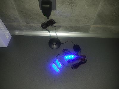 LED osvětlení na skleněnou polici - barva MODRÁ