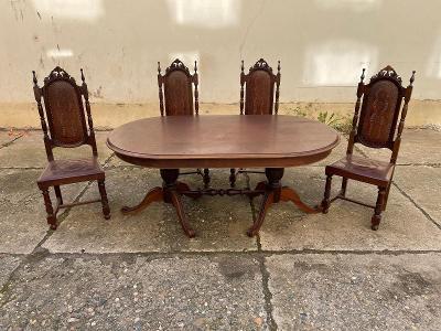 TOP-Luxusní masivní  jídelní stůl 4 x židle -TOP